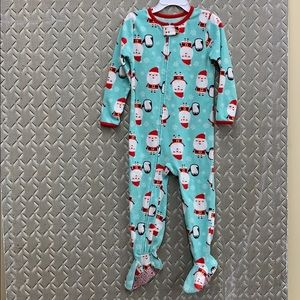 Carter's fleece footie pajamas Santa/penguins